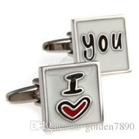 Wholesale Metal multicolor I LOVE YOU cufflinks square cufflinks AE8166 Epoxy Technology high quality low price