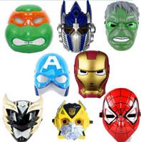 Wholesale Superhero LED flash mask Hulk Ironman spiderman TMNT Captain Americ children men women party COS heros avengers cartoon film full face mask
