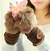 Wholesale New Cute Women s Buttons Striped Faux Rabbit Fur Knitted Gloves Lady s Winter Warmer Fingerless Gloves Half fingers Gloves For Women Hand