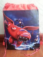 Red big lots backpacks - 12pcs Hot child children s girl s backpack big hero Drawstring bag for child school waterproof camping casual bags for kids