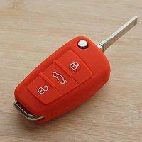 audi tt keychain - Red silicone car key cover case for Audi A1 A3 A4 A5 A6 A7 A8 Q5 Q7 R8 TT S5 S6 S7 S8 SQ5 RS5 fold flip key remote keychain keyring