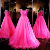 beauty designer - Designers New Prom Dresses Luxury Crystal Beaded Beauty Pageant Fuchsia Ball Gown Sexy V Neck Sleeveless Tulle Formal Quinceanera Dress