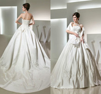 Wholesale 2015 Princess Wedding Dress with Strapless Ivory Satin Beaded Sequins Embroidered Ball Gowns Lace Up Cathedral Train Designer Wedding Dress