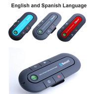 Wholesale New English Spanish Vehicle Wireless Multipoint Wireless Handsfree Speakerphone Cell Phone Bluetooth Hands Free v3 Car Kit Black Blue