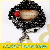 bad beads - Natural black crystal beads bracelet coil winding to ward off bad luck Female money transfer gem stone hand string