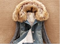 Cheap Autumn Winter Women's Short Denim Jaqueta With Fur Collar Slim Lamb Cotton Denim Jeans Outwear Free Shipping