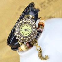 Reloj de cuarzo por mayor-Promocional Más populares Hawaiian Style Fashion Love Heart Leaf Rose Moon Star Colgante Mujer de cuero largo