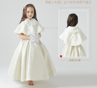 Wholesale 2016 New Winter in Stock Warm Flowers Girl Capes shawl faux fur wedding dress Bolero wrap cape shrug jacket Accessories Red White Red Blue