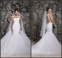 beautiful beach wedding dresses - Custom Made Beautiful Court Train Illusion Transparent Back Beaded Lace Mermaid Spring Wedding Dresses Bridal Gowns d41