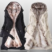 Wholesale Winter Coat Women Fashion Faux Fur Lining Warm Hoodies Long Outerwear Casual Plus Size Cotton jacket women s Trench Coat