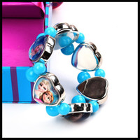 Wholesale Frozen anna elsa heart charm bracelets fashion kids charm stretch bracelet Princess photo bracelet bangle for Christmas gift