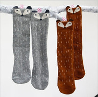 Wholesale 2015 New Hot Sale Kids Children Cotton D Fox Socks Knee High Polka Dots Tube Socks Gray Coffee Kids Clothing Socks Sizes Pairs L507