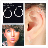 Wholesale 2015 fashion real sterling silver earring many small sizes to choose smooth surface suitable for boys and girl man woman eardrum earring