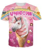 Cheap Unicone T-Shirt the rare ice cream unicorn emojis rainbow pizza funny t shirt Unisex Women Men Sport tops Summer Style sexy tees