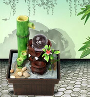 Wholesale Desktop water fountain water feature bamboo Lucky Feng Shui ornaments office decorations home decoration resin crafts home decor