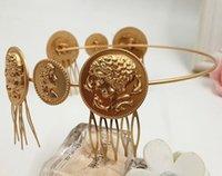 baroque portrait - New Baroque vintage metal portrait coin headband women beauty head hair bands bijoux hair combs