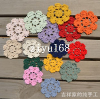 Cheap 2014 new fashion flowers design 30 pic lot 6 cm round ikea style cotton lace felt crochet doilies as innovative item for table