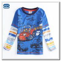 Cheap Boys Clothes Children Spring Autumn Clothes Baby Boy Cartoon T shirt Long Sleeves Blue T shirts Cool Car Printing New Shirt (A4628)