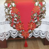bamboo table runners - New For Christmas cm Polyester Embroidery Xmas Table Runner Satin Tablecloth Cutwork by Hand Table Towel Cloth Covers