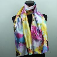 white silk scarf - 1pcs Purple Yellow White Pink Lily Flower Fashion Satin Oil Painting Beach Silk Scarf Scarves X50cm