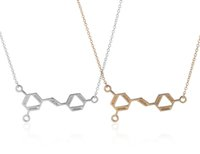 alloy chemistry - 10PCS Girls Gifts Gold and Silver Wine Molecule Chemistry Pendant Necklace for Women Science Resveratrol Molecule Necklace N94