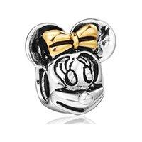 bead mouse - Rhodium And Gold Plating Diney Minnie Cartoon Mouse Bead European Animal Charm Fit Pandora Bracelet