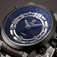 auto set clock - Shark Luxury Brand Mens LCD Digital Auto Date Day Display Black Blue Alarm Setting Analog Quartz Male Clock Sport Men Military Watch SH341