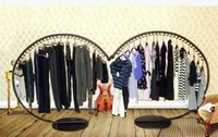 arc work - Reinforcement bold European ground wrought iron arc clothes hanger semicircle island display shelf