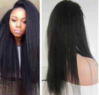 kinky straight lace wigs - wigs for black women human hair wig front lace african american kinky straight Indian remy Italian yaki baby hair free part Jet black