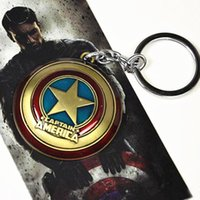 Wholesale Marvel Character Multi patterned Cartoon Key Rings BatMan SpiderMan CapitalAmerican Metal KeyRing Mask Shield Key Chain Decoration