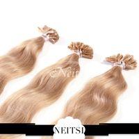 u tip hair extensions - Neitsi inch g g pc Nail U Tip Hair Natural Wave Nails Hair Remy U Tips Hair Extensions Pre Bonded Hair Extensions