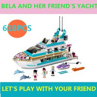 barge yacht - Girl gift toy ship Set Series boat yacht Building Bricks Blocks Minifigure barge block Toy Compatible With Legoed
