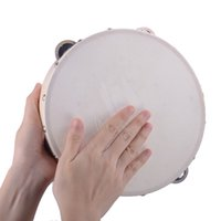 Wholesale 9 quot Hand Held Tambourine Drum Bell Birch Metal Jingles Percussion Musical Educational Toy Instrument for KTV Party Kids Games
