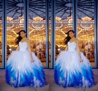 pink and black prom dresses - Fashionable Blue and White Quinceanera Dresses Hot Ball Gown Sweetheart Lace up Beaded Crystals Layers Floor Length Tulle Prom Gowns