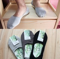 ankle socks black - Summer Cotton Bamboo fiber Socks Low Socks Cotton Seamless Invisible Socks Sock Slippers For Men L1DBC9
