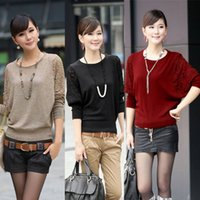 Cheap 2014 Autumn Winter Warm Women Batwing Half Sleeve Slim Pullover Short Sweater Jumper Tops