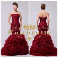 Wholesale 2015 Designer Occasion Dresses Mermaid Evening Dresses Burgundy Organza Satin Strapless Ruched Backless Zipper Pleated Evening Gowns