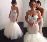 gorgeous fabrics - Real Image Beads Wedding Dresses Gorgeous Mermaid Bridal Gowns With Sweetheart Neck Sleeveless Zip Back Floor Length Tulle Fabric