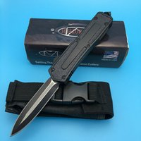 Wholesale Microtech Scarab Double Blade with Serrated camping knife Hunting combat outdoor knife knives with bag BM BK BK A161 A162
