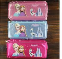 Wholesale Frozen Elsa and Anna Pencil bags for children Cartoon Princess Pencil Bag Cartoon Pen Bags Pencil case Kids Stationery For school supplies