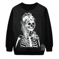 tie dye hoodies - Personality tie dye Gothic rock style guard garments hedging Halloween skeleton women printing hoodies sweatshirt P256
