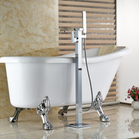 Wholesale And Retail Chrome Brass Bathroom Tub Faucet Hand Shower Sprayer Mixer Tap Floor Mounted Tub Filler Hand Shower