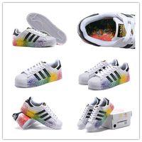 Painting Medium - Size Originals Superstar LGBT Pride Pack Paint Splatter D70351 White Black Rainbow Men s Skate Shoes