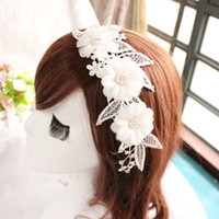 act manual - 2016 The bride headdress Korean manual white bud silk flowers han edition marriage lace frontal act the role of hairpin headdress flower hai