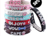 Wholesale FREE DHL Mix colors sizes Croc Pu leather Personalized DIY Name Charm Dog Pet Collar Pet Supplies Price exclude sliders