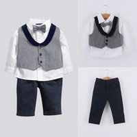 bebe vest - New autumn Baby suit gentleman boys clothing set vest long sleeves shirt with bow tie long pant Popular style bebe clothes