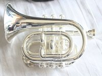 Wholesale NEW Nickel POCKET TRUMPET available Very excellent pocket trumpet with a case