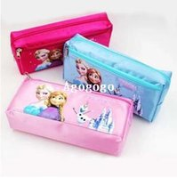 Cheap Frozen Pencil Bag Anna Elsa Cartoon Pen Bags & Pencil case Children Cartoon Fashion Pencil Bag Frozen Stationery 3color mixing