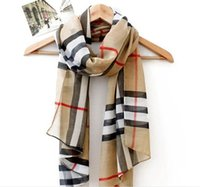 Wholesale Chiffon Scarf Fashion Scarves Shawl Korean Version Of The Fall And Winter Classic Plaid Pattern Women Clothing Accessories