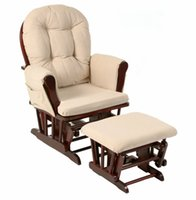 baby rocking chair cushions - Wood Rocking Chair Rocker And Ottoman Living Room Furniture Modern Ergonomic Cushioned Large Brown Glider Rocking Chair Feeding Baby